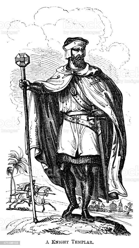 Knight Templar (Victorian woodcut) royalty-free stock vector art