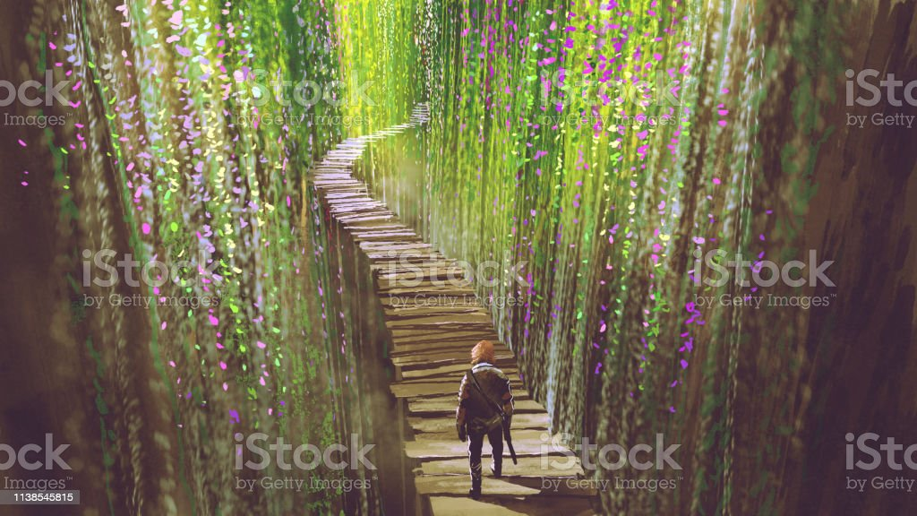 knight walking on garden bridge knight walking on wooden bridge that surrounded by green vines and flowers, digital art style, illustration painting Adult stock illustration
