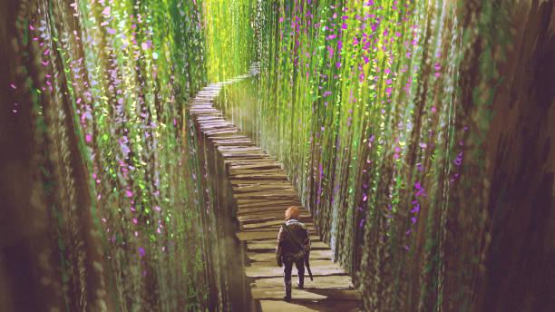 knight walking on garden bridge vector art illustration