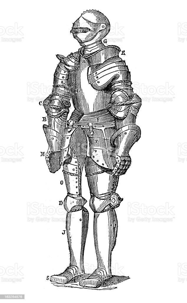 Knight's armor antique engraving vector art illustration
