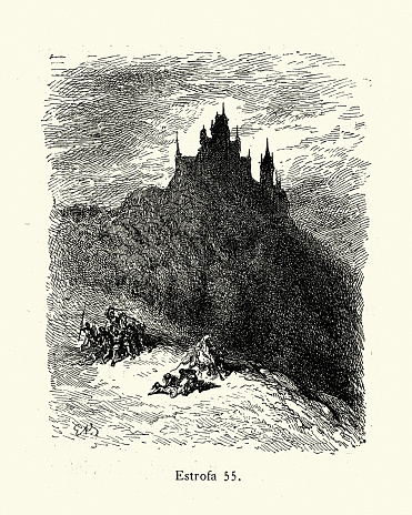 Vintage illustration of scene from Orlando Furioso illustrated by Gustave Dore. Medieval Chivalric romance
