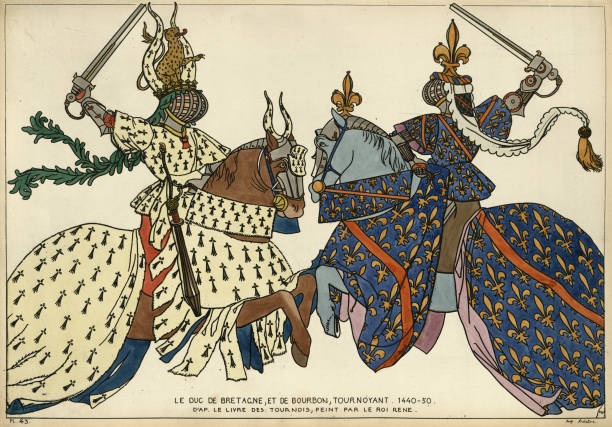 illustrations, cliparts, dessins animés et icônes de chevaliers, tournoi médiéval, ducs de bretagne et bourbon au combat - bretagne