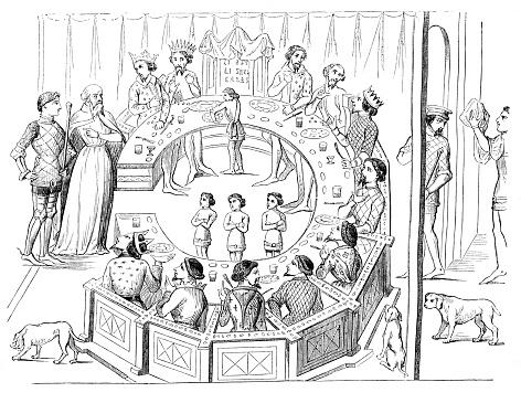 Ronde Tafel Koning Arthur.Ridders Van De Ronde Tafel Met Koning Arthur 12e Eeuw