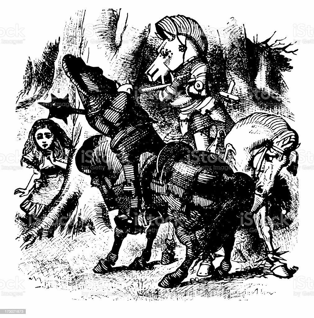 Knights on horseback illustration, (Alice's Adventures in Wonderland) royalty-free stock vector art