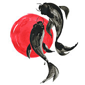 istock Koi fishes and red sun in Japanese style. Watercolor illustration 920434334