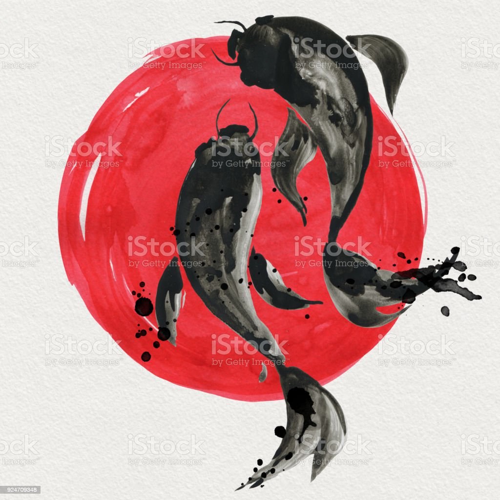 Koi fishes and red sun in Japanese style. Watercolor illustration vector art illustration