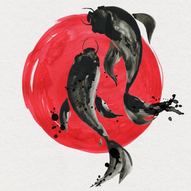 stockillustraties, clipart, cartoons en iconen met koi vissen en rode zon in japanse stijl. aquarel illustratie - carp