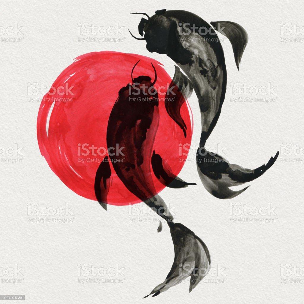 Ilustración de Peces Koi En Estilo Japonés Ilustración De Pintura De ...