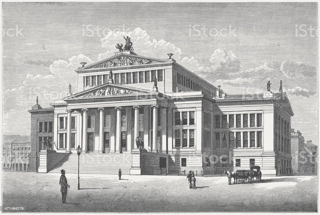 Konzerthaus Berlin, built by Karl Friedrich Schinkel royalty-free stock vector art