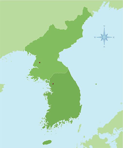 Korea map vector art illustration