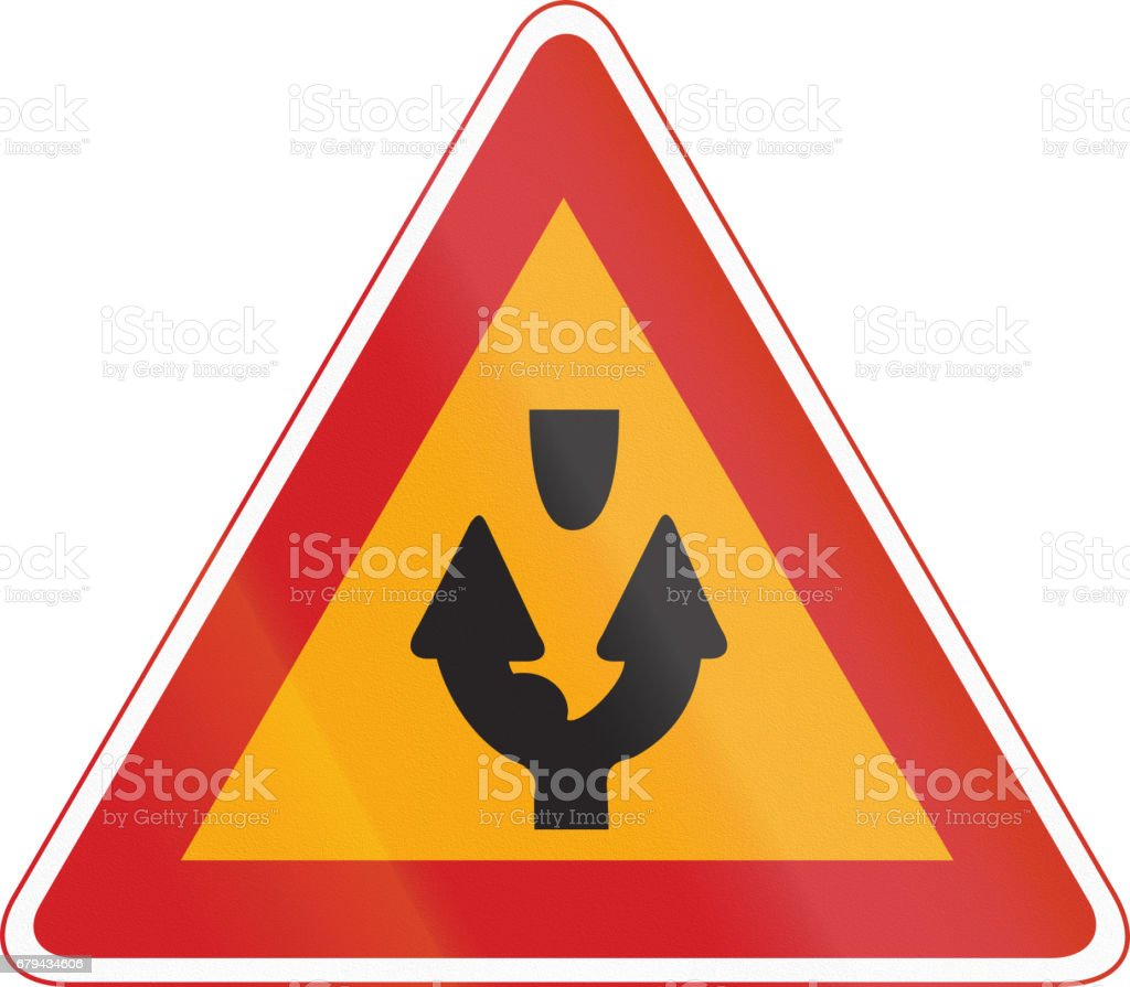 Korea Traffic Safety Sign - Attention - Both Side Road royalty-free korea traffic safety sign attention both side road stock vector art & more images of asia