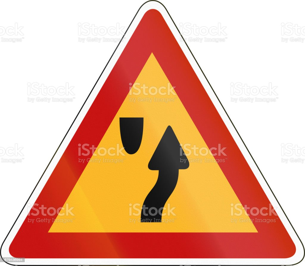Korea Traffic Safety Sign - Attention - Right Side Road royalty-free korea traffic safety sign attention right side road stock vector art & more images of asia