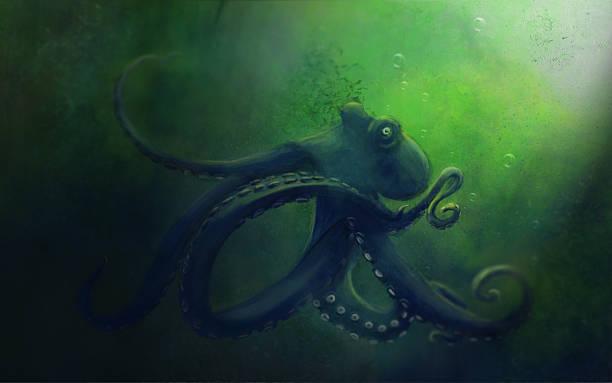 Krake - Digital Painting vector art illustration
