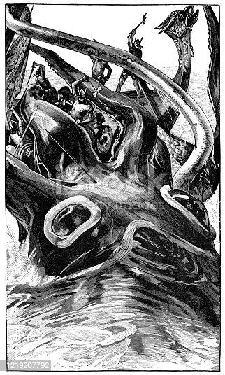 istock Kraken Attacking a Viking Ship - 19th Century 1219207792