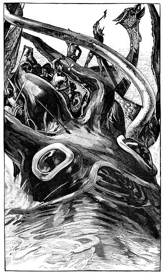Kraken Attacking a Viking Ship - 19th Century