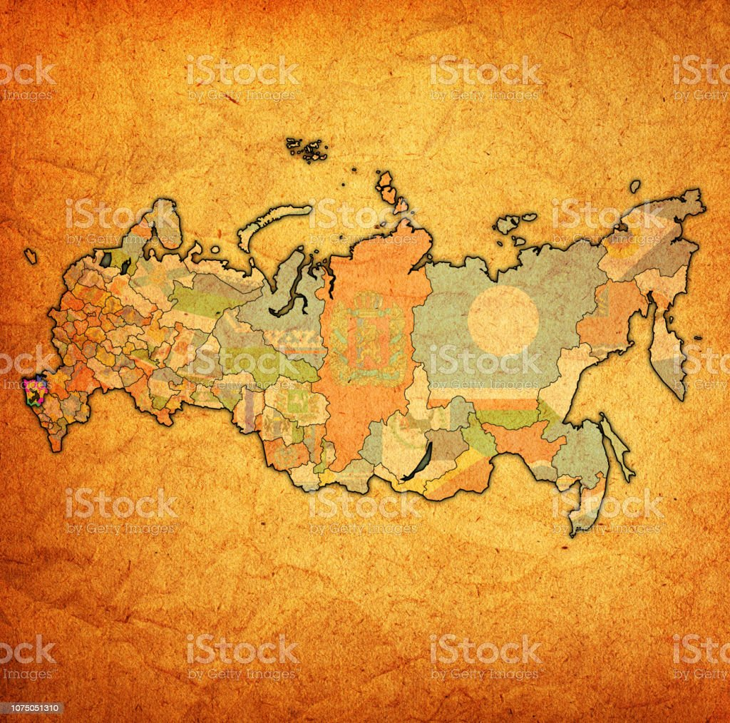 Krasnodar Krai On Map Of Administrative Divisions Of Russia Stock Illustration Download Image Now Istock