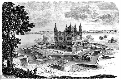 Illustration of a Kronborg is a castle and stronghold in the town of Helsingør, Denmark.