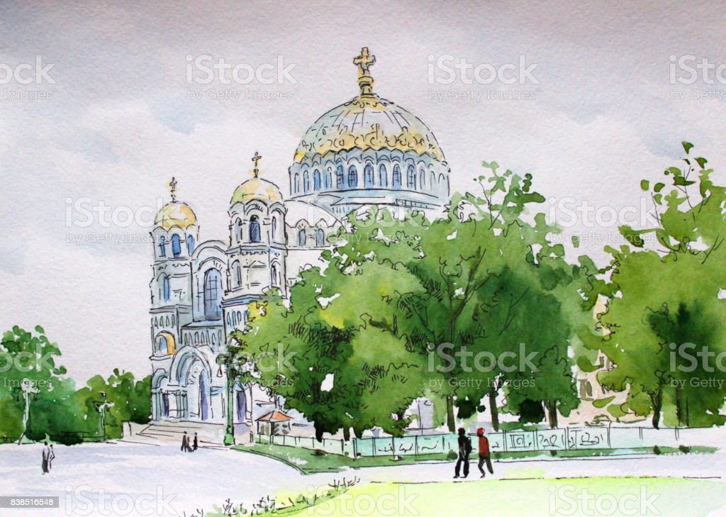 Kronstadt watercolor Nikolsky Naval Cathedral vector art illustration