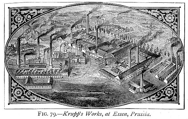 Krupp's ammunition and armaments factory Vintage engraving of a Krupp's ammunition and armaments factory, at Essen, Prussia. 1884 essen stock illustrations