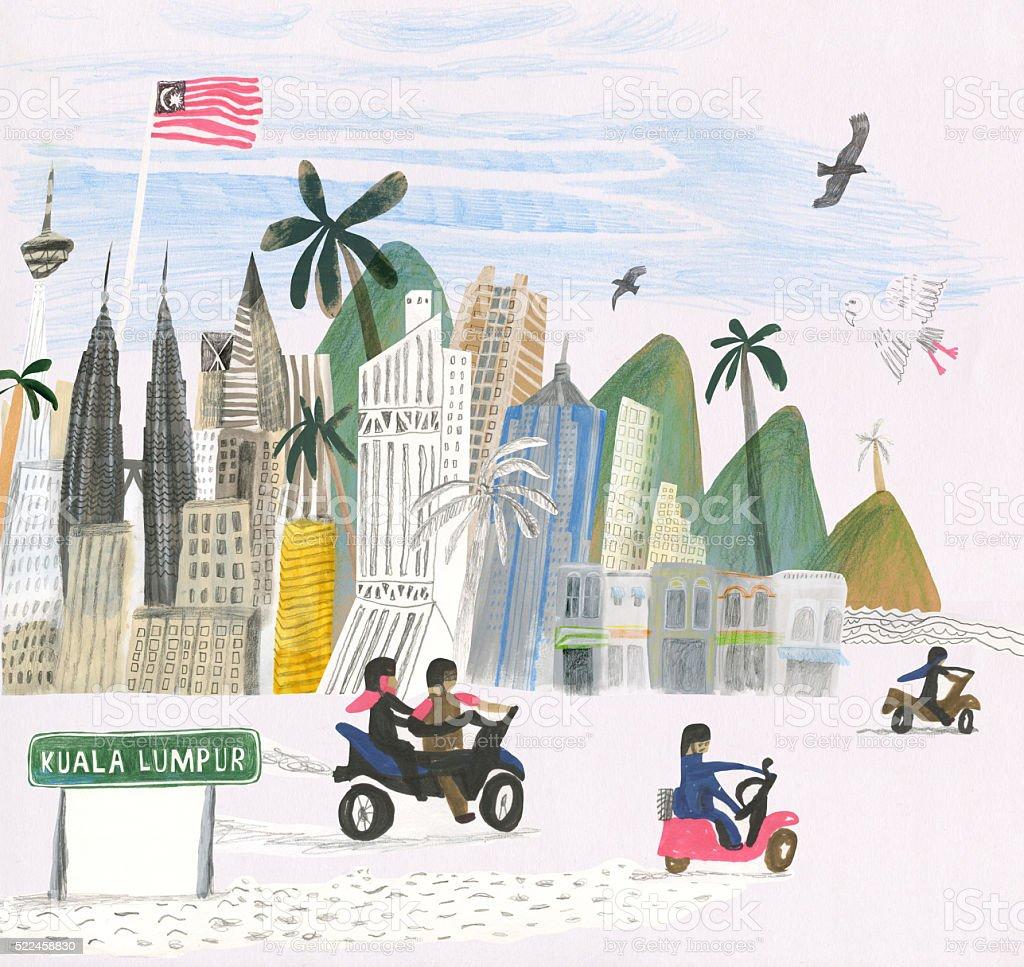 Kuala Lumpur city illustration vector art illustration