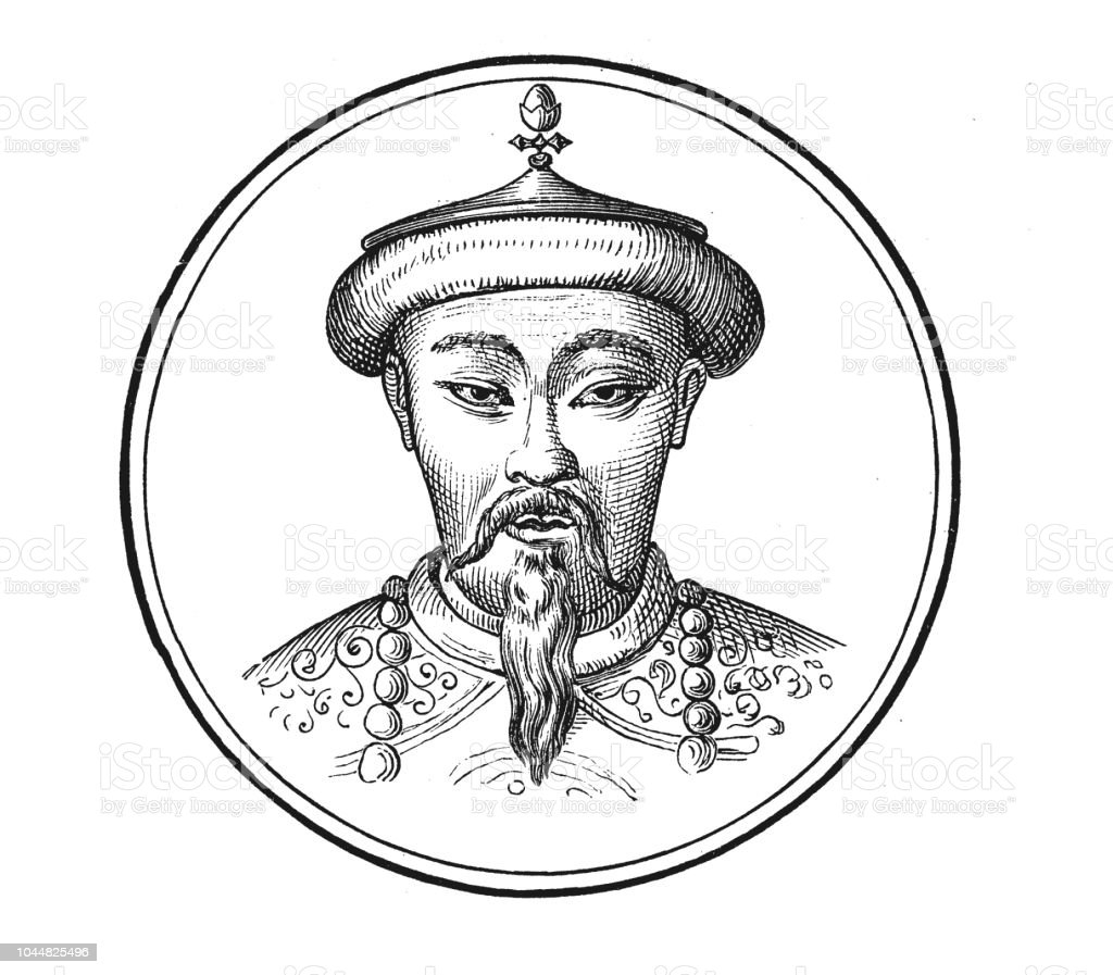 kublai khan of the mongol empire stock vector art more images of Medieval Mongolian Clothing kublai khan of the mongol empire illustration