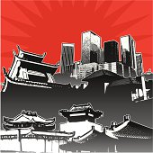 Stylized asian architecture scene