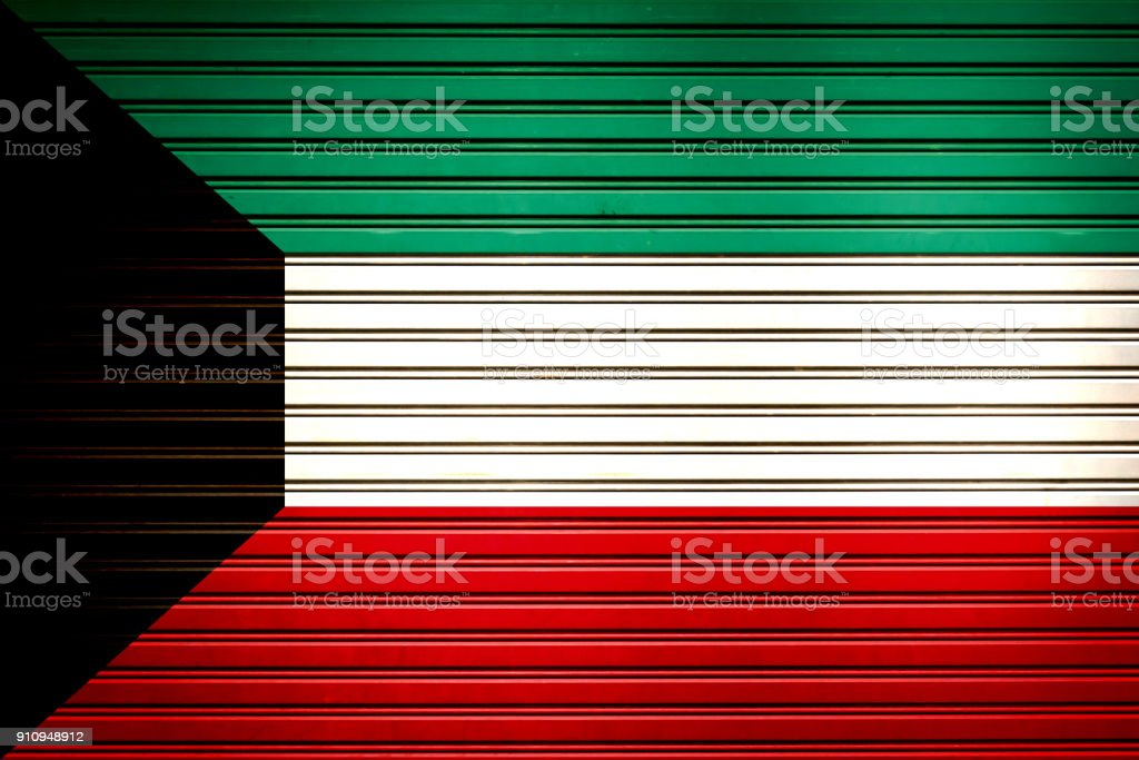 Kuwait Middle East, Western Asia Flag sign in iron garage door texture, flag background vector art illustration