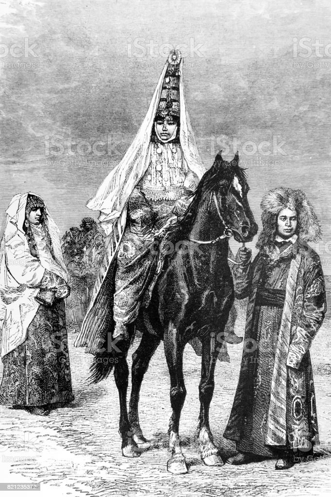 A Kyrgyz Bride on a horse in Afghanistan vector art illustration
