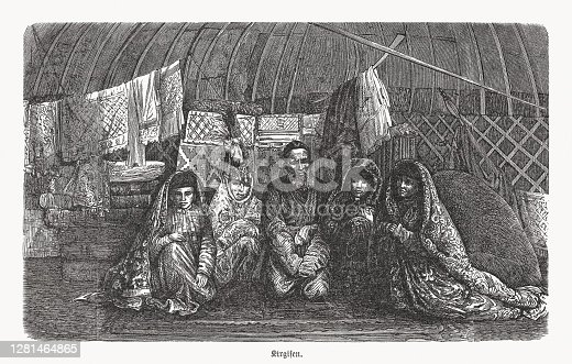 istock Kyrgyz people in teh past, wood engraving, published in 1893 1281464865