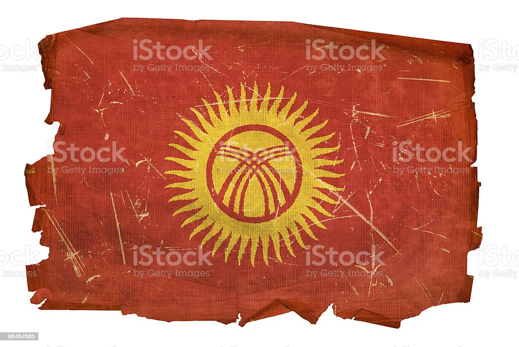 Kyrgyzstan Flag old, isolated on white background. royalty-free kyrgyzstan flag old isolated on white background stock vector art & more images of aging process