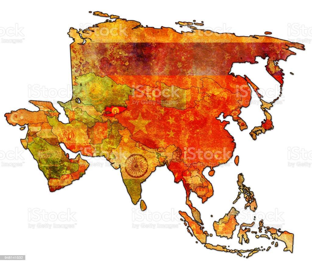 kyrgyzstan flag on political map of asia royalty free kyrgyzstan flag on political map of