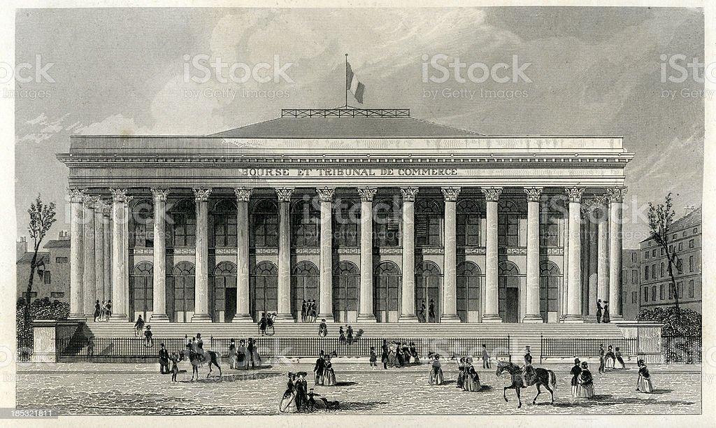 La Bourse and the Tribunal de Commerce in Paris royalty-free stock vector art