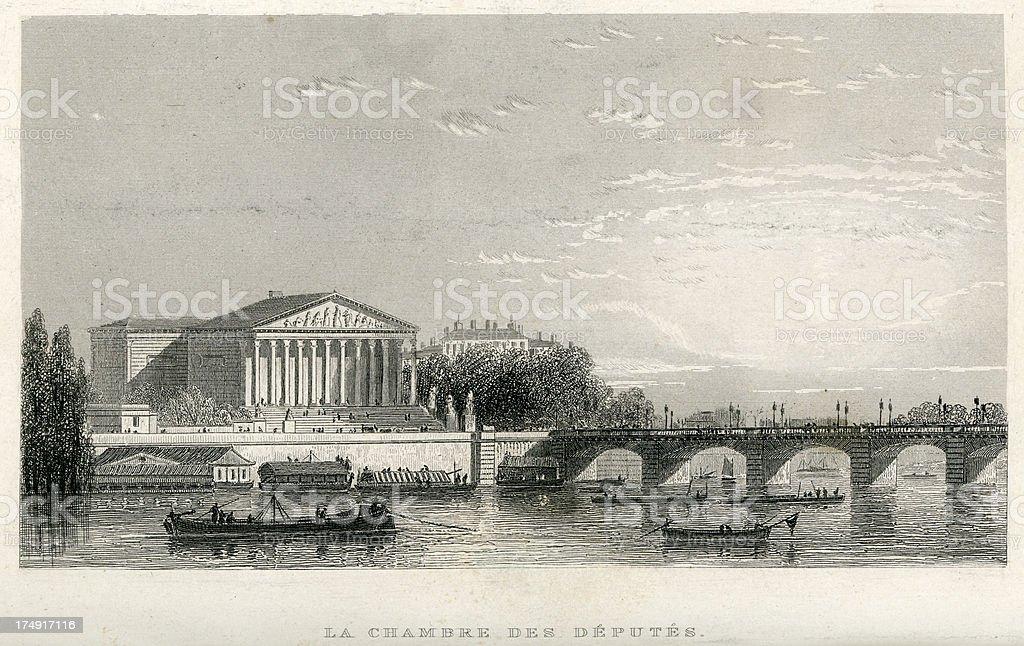 La Chambre Des Deputes, Paris royalty-free stock vector art