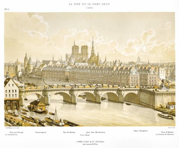 La Cité and the Pont-Neuf in 1665. By Paris through the ages 1875 Paris, evolution of places thru the time seine river stock illustrations