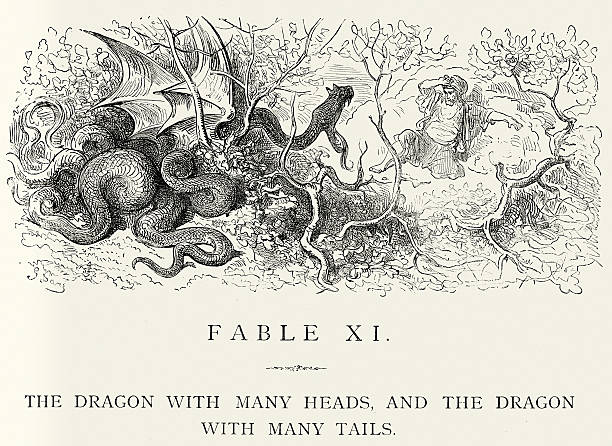 La Fontaine's Fables - Dragon with many heads Vintage engraving from La Fontaine's Fables, Illustraed by Gustave Dore. The Dragon with many heads, and the Dragon with many tails rymdraket stock illustrations