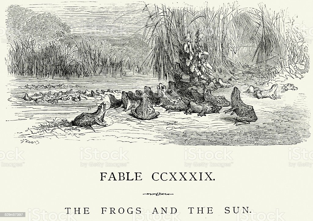 La Fontaine's Fables -  Frogs and the Sun vector art illustration