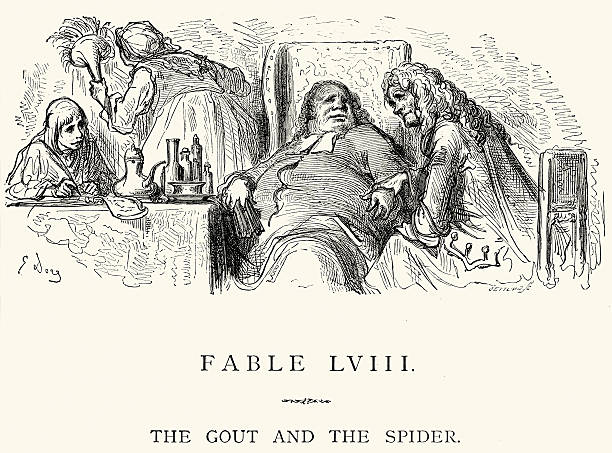 La Fontaine's Fables - Gout and the Spider vector art illustration