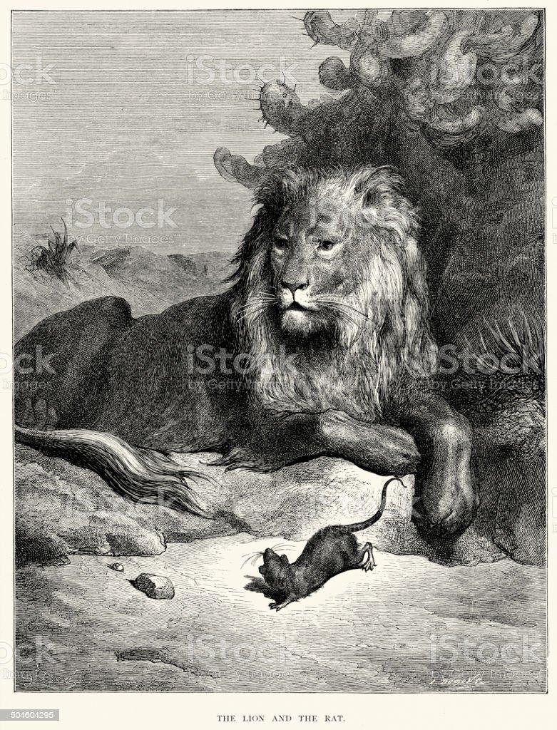 La Fontaine's Fables - Lion and the Rat vector art illustration