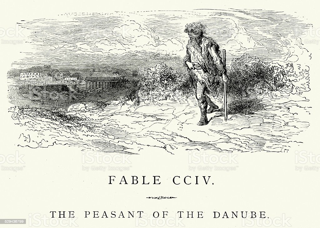 La Fontaine's Fables - Peasant of the Danube vector art illustration