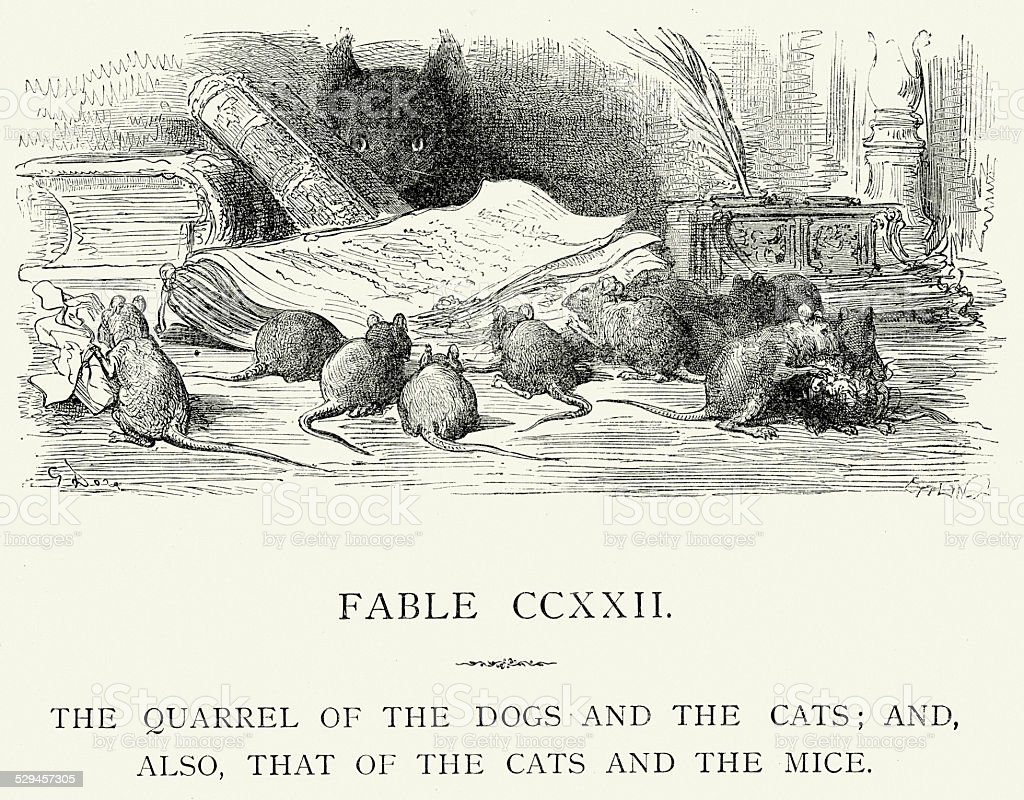 La Fontaine's Fables - Quarrel of the Dogs and Cats vector art illustration