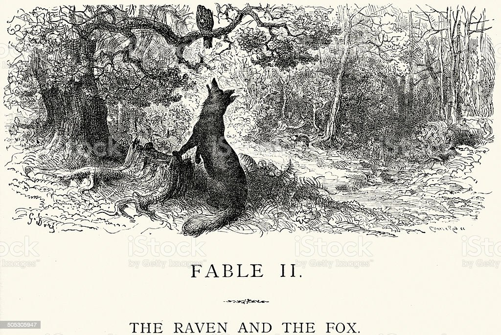 La Fontaine's Fables - Raven and the Fox vector art illustration