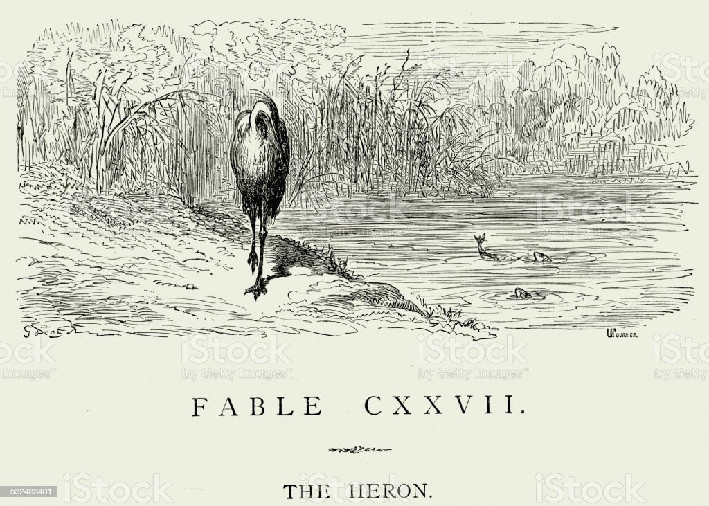 La Fontaine's Fables - The Heron vector art illustration