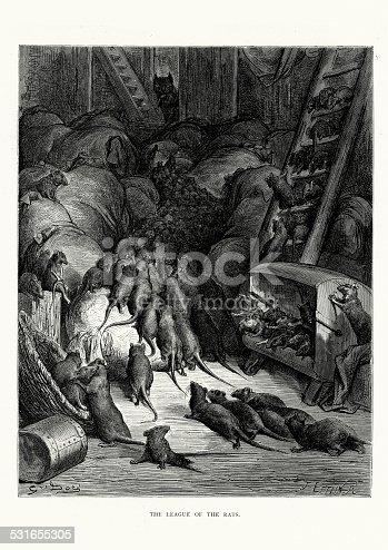Vintage engraving from La Fontaine's Fables, Illustraed by Gustave Dore. The League of Rats