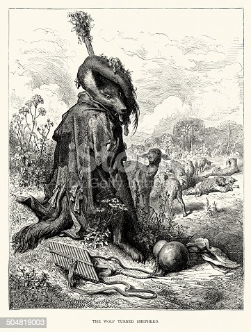 istock La Fontaine's Fables - The Wolf turned Shepherd 504819003