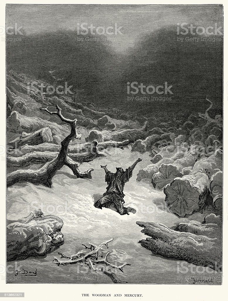 La Fontaine's Fables -  The Woodman and  Mercury vector art illustration