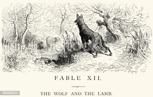 istock La Fontaine's Fables - Wolf and the Lamb 505305221