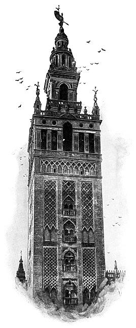 La Giralda of Seville Cathedral in Seville, Spain - 19th Century