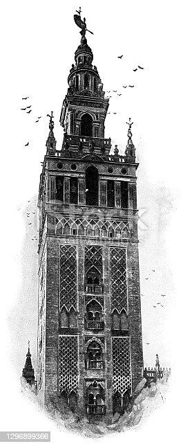 istock La Giralda of Seville Cathedral in Seville, Spain - 19th Century 1296899366