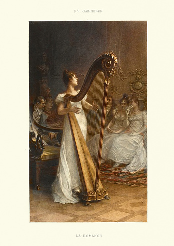 La Romance, Woman playing a harp, 19th Century