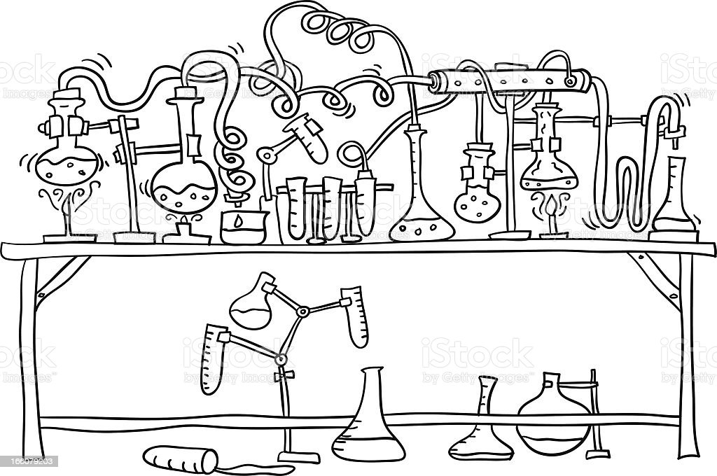 Lab experiment in black and white royalty-free stock vector art